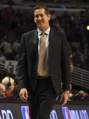 Nov 4, 2016; Chicago, IL, USA; New York Knicks head coach Jeff Hornacek walks back to the bench during the first quarter of a game against the Chicago Bulls at  the United Center. Mandatory Credit: David Banks-USA TODAY Sports