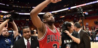 Nov 10, 2016; Miami, FL, USA; Chicago Bulls guard Dwyane Wade (3) waves to the fans after defeating the Miami Heat 98-95 at American Airlines Arena. Mandatory Credit: Steve Mitchell-USA TODAY Sports