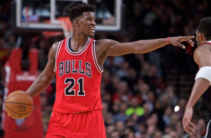 Nov 15, 2016; Portland, OR, USA; Chicago Bulls forward Jimmy Butler (21) points during the second quarter against the Portland Trail Blazers at the Moda Center. Mandatory Credit: Craig Mitchelldyer-USA TODAY Sports