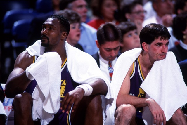 1993:  Karl Malone, left and John Stockton of the Utah Jazz sit on the bench during a Jazz game. Mandatory credit-Icon Sportswire