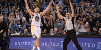 December 5, 2016; Oakland, CA, USA; Golden State Warriors guard Klay Thompson (11) celebrates after scoring a three-point basket against the Indiana Pacers during the third quarter at Oracle Arena. The Warriors defeated the Pacers 142-106. Mandatory Credit: Kyle Terada-USA TODAY Sports