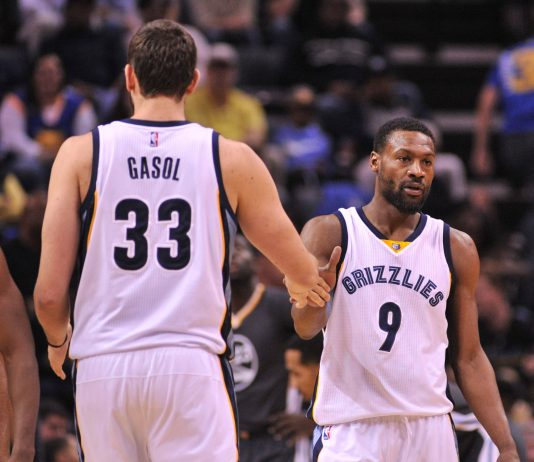 Dec 10, 2016; Memphis, TN, USA; Memphis Grizzlies center Marc Gasol (33) and Memphis Grizzlies guard Tony Allen (9) during the first half after the game at FedExForum. Mandatory Credit: Justin Ford-USA TODAY Sports