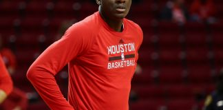 Dec 16, 2016; Houston, TX, USA; Houston Rockets center Clint Capela (15) warms up before a game against the New Orleans Pelicans at Toyota Center. Mandatory Credit: Troy Taormina-USA TODAY Sports