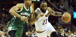 Dec 21, 2016; Cleveland, OH, USA; Cleveland Cavaliers forward LeBron James (23) drives to the basket against Milwaukee Bucks forward Giannis Antetokounmpo (34) during the first half at Quicken Loans Arena. Mandatory Credit: Ken Blaze-USA TODAY Sports