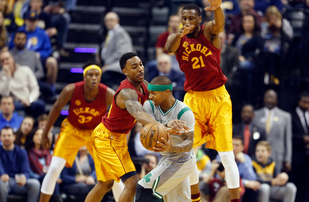 Dec 22, 2016; Indianapolis, IN, USA; Boston Celtics guard Isaiah Thomas (4) is guarded by Indiana Pacers guard Jeff Teague (44) at Bankers Life Fieldhouse. Boston defeats Indiana 109-102. Mandatory Credit: Brian Spurlock-USA TODAY Sports