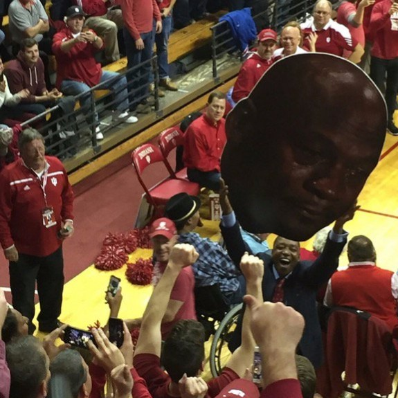 Nov. 30, 2016; Bloomington, IN, USA; Isiah Thomas pulls out crying Jordan face after the Indiana Hoosiers beat the North Carolina Tar Heels in Assembly Hall. Indiana defeated North Carolina 76-67. Credit-JordanHeckFF/Twitter