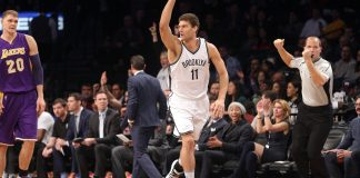 Dec 14, 2016; Brooklyn, NY, USA; Brooklyn Nets center Brook Lopez (11) reacts after hitting a three point shot against the Los Angeles Lakers during the first quarter at Barclays Center. Mandatory Credit: Brad Penner-USA TODAY Sports