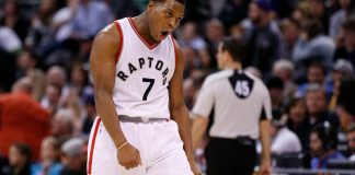 Dec 23, 2016; Salt Lake City, UT, USA; Toronto Raptors guard Kyle Lowry (7) reacts after a making a basket in the fourth quarter against the Utah Jazz at Vivint Smart Home Arena. The Toronto Raptors defeated the Utah Jazz 104-98. Mandatory Credit: Jeff Swinger-USA TODAY Sports