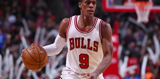 Dec 28, 2016; Chicago, IL, USA; Chicago Bulls guard Rajon Rondo (9) dribbles the ball against the Brooklyn Nets during the second half at the United Center. Mandatory Credit: Mike DiNovo-USA TODAY Sports