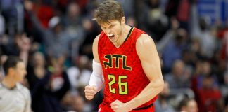 Jan 1, 2017; Atlanta, GA, USA; Atlanta Hawks guard Kyle Korver (26) shows emotion against the San Antonio Spurs in the fourth quarter at Philips Arena. The Hawks won 114-112 in overtime. Mandatory Credit: Brett Davis-USA TODAY Sports