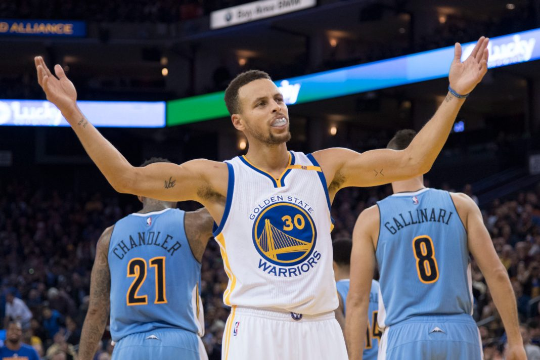 January 2, 2017; Oakland, CA, USA; Golden State Warriors guard Stephen Curry (30) celebrates during the fourth quarter against the Denver Nuggets at Oracle Arena. The Warriors defeated the Nuggets 127-119. Mandatory Credit: Kyle Terada-USA TODAY Sports