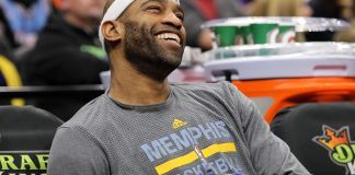 Dec 31, 2016; Sacramento, CA, USA; Memphis Grizzlies guard Vince Carter (15) smiles during the game against the Sacramento Kings at Golden 1 Center. The Grizzlies defeated the Kings 112-98. Mandatory Credit: Sergio Estrada-USA TODAY Sports