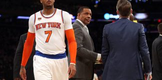 Jan 9, 2017; New York, NY, USA; New Orleans Pelicans head coach Alvin Gentry turns to watch as New York Knicks small forward Carmelo Anthony (7) is escorted off the court after being ejected during the third quarter at Madison Square Garden. Mandatory Credit: Brad Penner-USA TODAY Sports
