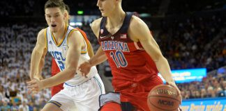 January 21, 2017; Los Angeles, CA, USA; Arizona Wildcats forward Lauri Markkanen (10) moves to the basket against UCLA Bruins forward TJ Leaf (22) during the first half at Pauley Pavilion. Mandatory Credit: Gary A. Vasquez-USA TODAY Sports