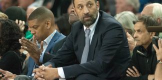 Mar 16, 2015; Sacramento, CA, USA; Sacramento Kings Vice President of basketball and franchise operations Vlade Divac looks on during the game against the Atlanta Hawks at Sleep Train Arena. The Atlanta Hawks defeated the Sacramento Kings 110-103. Mandatory Credit: Ed Szczepanski-USA TODAY Sports