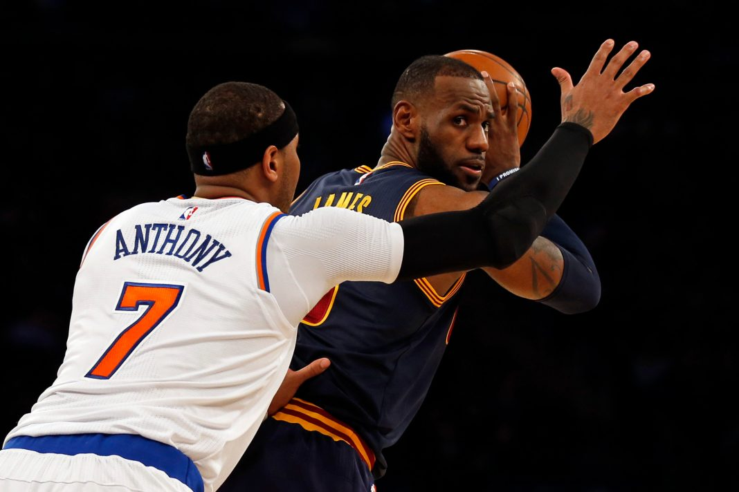 Feb 4, 2017; New York, NY, USA; Cleveland Cavaliers forward LeBron James (23) looks to pass while being defended by New York Knicks forward Carmelo Anthony (7) during the second quarter at Madison Square Garden. Mandatory Credit: Adam Hunger-USA TODAY Sports