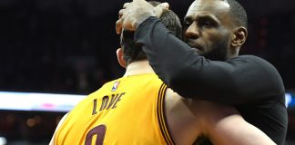 Feb 6, 2017; Washington, DC, USA; Cleveland Cavaliers forward LeBron James (23) and forward Kevin Love (0) celebrates after defeating Washington Wizards 140-135 in overtime at Verizon Center. Mandatory Credit: Tommy Gilligan-USA TODAY Sports