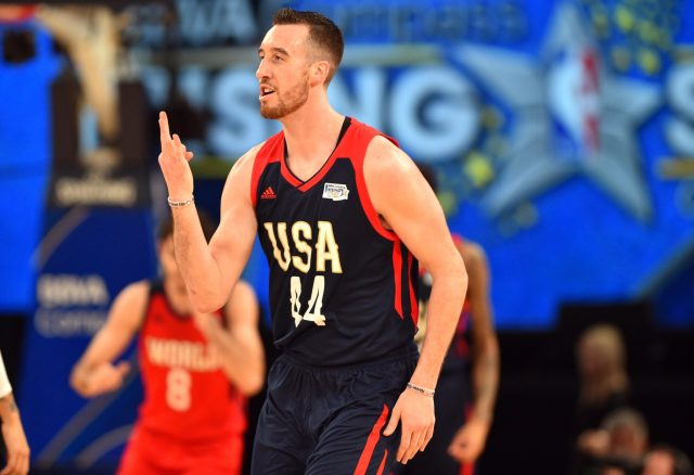 Feb 17, 2017; New Orleans, LA, USA; U.S. Team center Frank Kaminsky of the Charlotte Hornets (44) reacts during the Rising Stars Challenge at Smoothie King Center. Mandatory Credit: Bob Donnan-USA TODAY Sports
