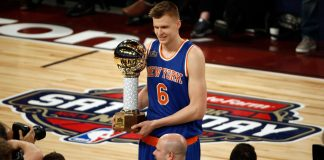 Feb 18, 2017; New Orleans, LA, USA; New York Knick forward Kristaps Porzingis (6) celebrates winning the three-point contest during NBA All-Star Saturday Night at Smoothie King Center. Mandatory Credit: Derick E. Hingle-USA TODAY Sports