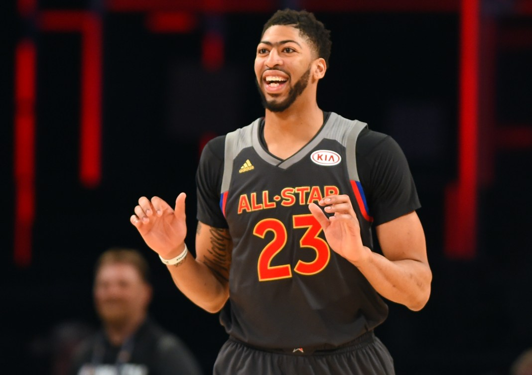 Feb 19, 2017; New Orleans, LA, USA; Western Conference forward Anthony Davis of the New Orleans Pelicans (23) reacts in the 2017 NBA All-Star Game at Smoothie King Center. Mandatory Credit: Bob Donnan-USA TODAY Sports
