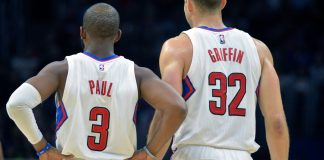 Nov 30, 2015; Los Angeles, CA, USA; Los Angeles Clippers guard Chris Paul (3) and forward Blake Griffin (32) during an NBA game against the Portland Trail Blazers at Staples Center. Mandatory Credit: Kirby Lee-USA TODAY Sports