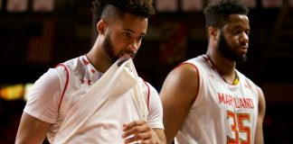 Jan 1, 2017; College Park, MD, USA; Maryland Terrapins guard Melo Trimble (2) and forward Damonte Dodd (35) walk off the court after a loss to the Nebraska Cornhuskersat Xfinity Center. Mandatory Credit: Rafael Suanes-USA TODAY Sports