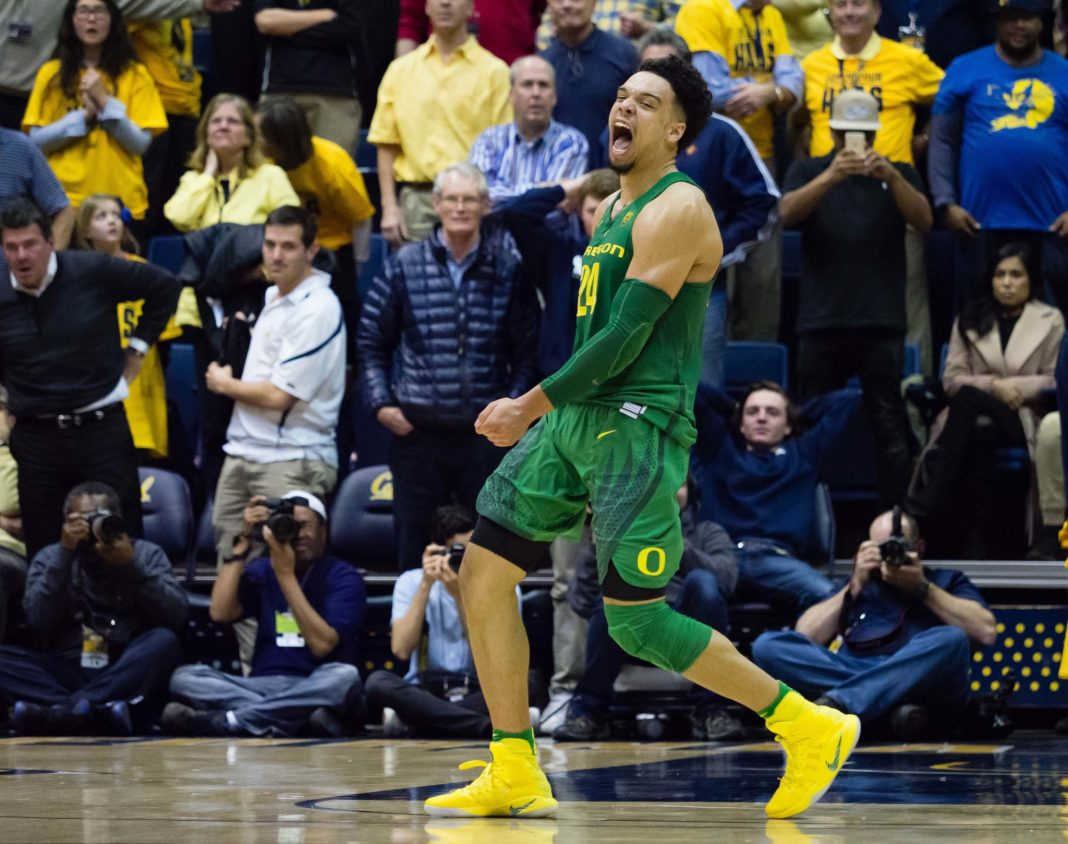 Feb 22, 2017; Berkeley, CA, USA; Oregon Ducks forward Dillon Brooks (24) reacts after scoring the game winning basket against the California Golden Bears during the second half at Haas Pavilion. The Ducks won 68-65. Mandatory Credit: Kelley L Cox-USA TODAY Sports