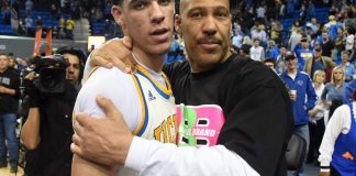 Mar 4, 2017; Los Angeles, CA, USA; Lavar Ball embraces his son UCLA Bruins guard Lonzo Ball (2) after the game against the Washington State Cougars at Pauley Pavilion. Mandatory Credit: Richard Mackson-USA TODAY Sports