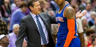 Mar 8, 2017; Milwaukee, WI, USA; New York Knicks head coach Jeff Hornacek talks with forward Carmelo Anthony (7) during the third quarter against the Milwaukee Bucks at BMO Harris Bradley Center. Mandatory Credit: Jeff Hanisch-USA TODAY Sports