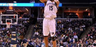 Mar 13, 2017; Memphis, TN, USA; Memphis Grizzlies guard Vince Carter (15) takes a shot during the first half against the Milwaukee Bucks at FedExForum. Memphis Grizzlies defeated the Milwaukee Bucks 113-93. Mandatory Credit: Justin Ford-USA TODAY Sports
