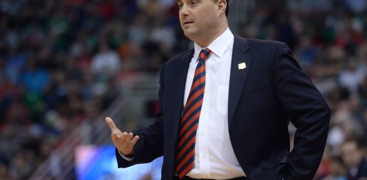 March 18, 2017; Salt Lake City, UT, USA; Arizona Wildcats head coach Sean Miller watches game action against the Saint Mary's Gaels during the first half in the second round of the 2017 NCAA Tournament at Vivint Smart Home Arena. Mandatory Credit: Joe Camporeale-USA TODAY Sports