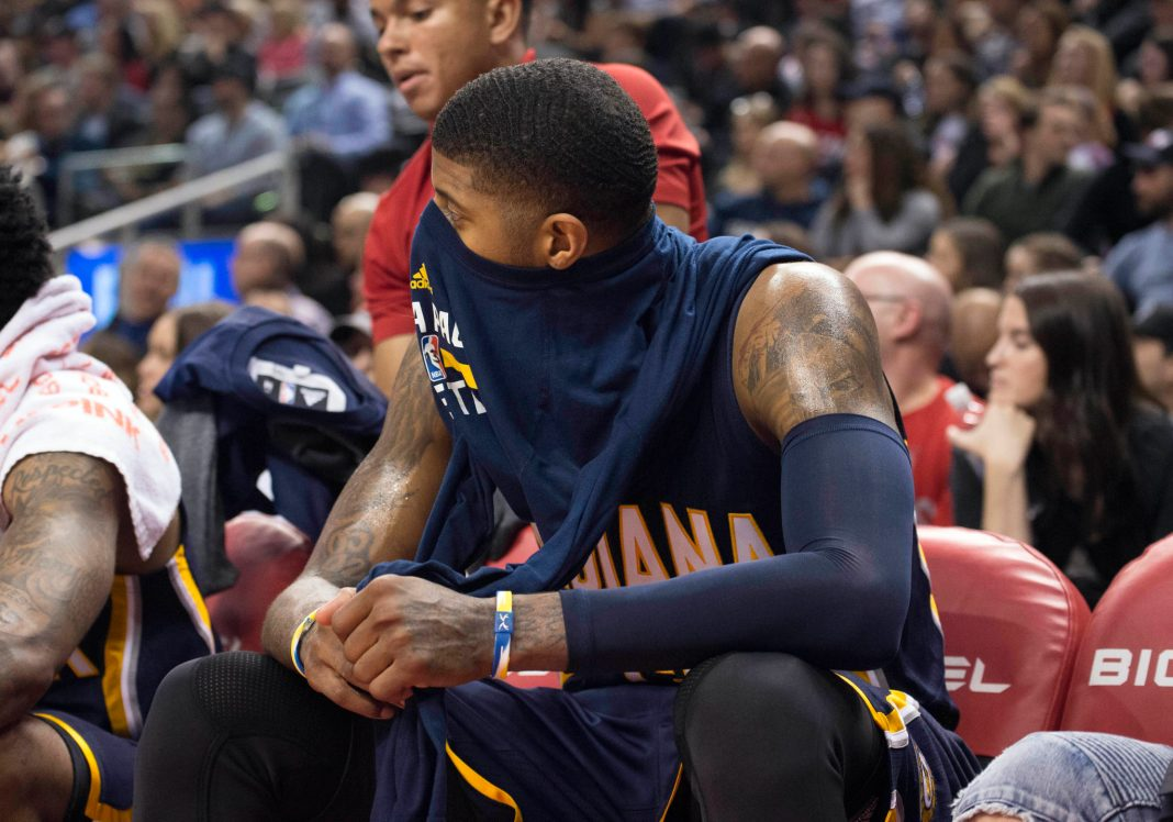 Mar 19, 2017; Toronto, Ontario, CAN; Indiana Pacers forward Paul George (13) sits on the bench during the fourth quarter in a game against the Toronto Raptors at Air Canada Centre. The Toronto Raptors won 116-91. Mandatory Credit: Nick Turchiaro-USA TODAY Sports