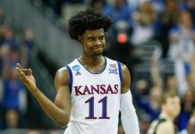 Mar 23, 2017; Kansas City, MO, USA; Kansas Jayhawks guard Josh Jackson (11) reacts during the second half in the semifinals of the midwest Regional of the 2017 NCAA Tournament at Sprint Center. Mandatory Credit: Jay Biggerstaff-USA TODAY Sports