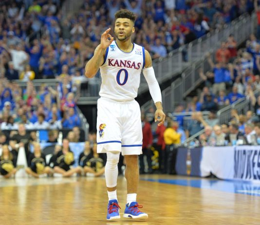 Mar 23, 2017; Kansas City, MO, USA; Kansas Jayhawks guard Frank Mason III (0) reacts during the second half against the Purdue Boilermakers in the semifinals of the midwest Regional of the 2017 NCAA Tournament at Sprint Center. Mandatory Credit: Denny Medley-USA TODAY Sports