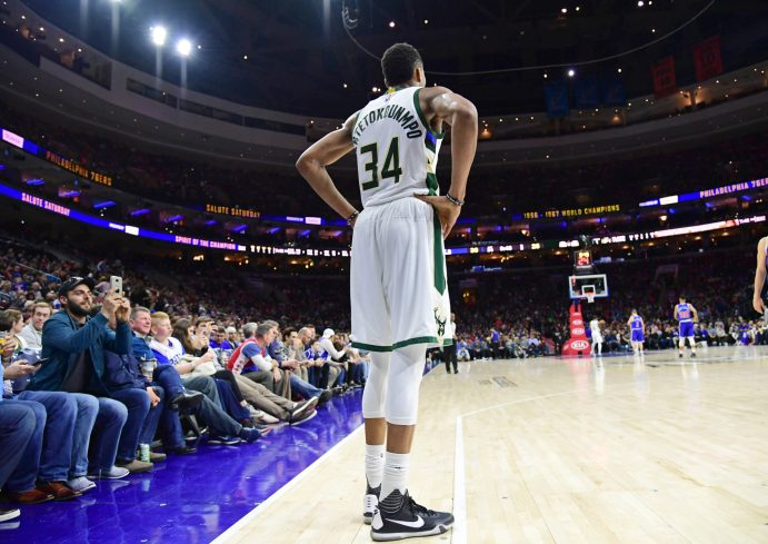 Apr 8, 2017; Philadelphia, PA, USA; Milwaukee Bucks forward <a rel=