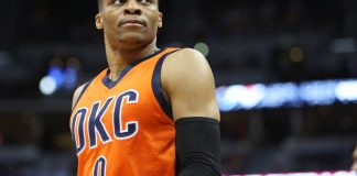 Apr 9, 2017; Denver, CO, USA; Oklahoma City Thunder guard Russell Westbrook (0) during the first half against the Denver Nuggets at Pepsi Center. Mandatory Credit: Chris Humphreys-USA TODAY Sports