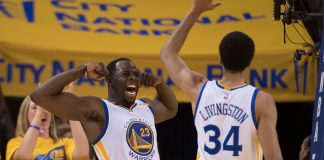 April 16, 2017; Oakland, CA, USA; Golden State Warriors forward Draymond Green (23) celebrates with guard Shaun Livingston (34) against the Portland Trail Blazers during the fourth quarter in game one of the first round of the 2017 NBA Playoffs at Oracle Arena. The Warriors defeated the Trail Blazers 121-109. Mandatory Credit: Kyle Terada-USA TODAY Sports