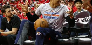 Apr 16, 2017; Houston, TX, USA; Oklahoma City Thunder guard Russell Westbrook (0) sits before game one of the first round of the 2017 NBA Playoffs against the Houston Rockets at Toyota Center. Mandatory Credit: Troy Taormina-USA TODAY Sports