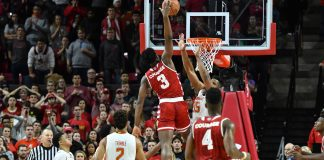 Jan 10, 2017; College Park, MD, USA; Indiana Hoosiers forward OG Anunoby (3) dunks over Maryland Terrapins forward Damonte Dodd (35) during the second half at Xfinity Center. Maryland Terrapins defeated Indiana Hoosiers 75-72. Mandatory Credit: Tommy Gilligan-USA TODAY Sports