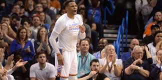Apr 4, 2017; Oklahoma City, OK, USA; Oklahoma City Thunder guard Russell Westbrook (0) reacts to a play against the Milwaukee Bucks during the fourth quarter at Chesapeake Energy Arena. Mandatory Credit: Mark D. Smith-USA TODAY Sports