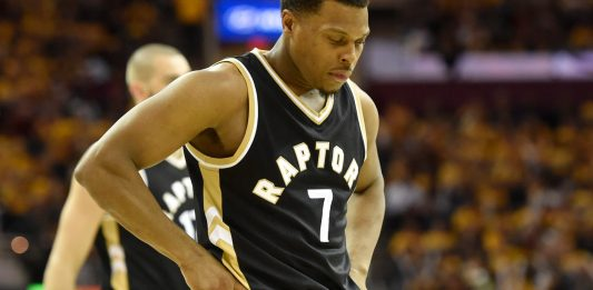 May 3, 2017; Cleveland, OH, USA; Toronto Raptors guard Kyle Lowry (7) reacts in the third quarter against the Cleveland Cavaliers in game two of the second round of the 2017 NBA Playoffs at Quicken Loans Arena. Mandatory Credit: David Richard-USA TODAY Sports