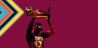 Jun 19, 2016; Oakland, CA, USA; Cleveland Cavaliers forward LeBron James (23) celebrates with the Larry O'Brien Championship Trophy after beating the Golden State Warriors in game seven of the NBA Finals at Oracle Arena. Mandatory Credit: Bob Donnan-USA TODAY Sports