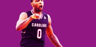 Apr 1, 2017; Glendale, AZ, USA; South Carolina Gamecocks guard Sindarius Thornwell (0) reacts after making a basket against the Gonzaga Bulldogs in the second half in the semifinals of the 2017 NCAA Men's Final Four at University of Phoenix Stadium. Mandatory Credit: Bob Donnan-USA TODAY Sports