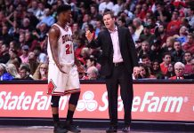 Apr 23, 2017; Chicago, IL, USA; Chicago Bulls forward Jimmy Butler (21) talks with Chicago Bulls head coach Fred Hoiberg during the second half in game four of the first round of the 2017 NBA Playoffs at United Center. Mandatory Credit: Mike DiNovo-USA TODAY Sports