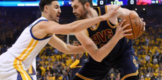 Jun 1, 2017; Oakland, CA, USA; Cleveland Cavaliers forward Kevin Love (0) is defended by Golden State Warriors guard Klay Thompson in the first quarter of the 2017 NBA Finals at Oracle Arena. Mandatory Credit: Kyle Terada-USA TODAY Sports