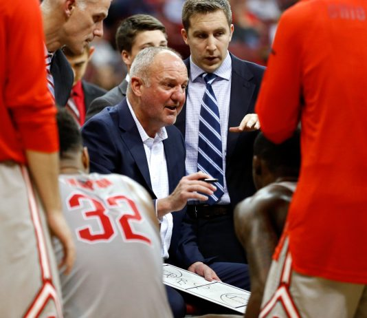 Nov 17, 2016; Columbus, OH, USA; Ohio State Buckeyes head coach Thad Matta during the game against the Providence Friars at Value City Arena. Ohio State won 72-67. Mandatory Credit: Joe Maiorana-USA TODAY Sports
