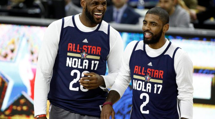 Feb 18, 2017; New Orleans, LA, USA; Eastern Conference forward LeBron James of the Cleveland Cavaliers (23) and Eastern Conference forward Kyrie Irving of the Cleveland Cavaliers (2) laugh during the NBA All-Star Practice at the Mercedes-Benz Superdome. Mandatory Credit: Derick E. Hingle-USA TODAY Sports