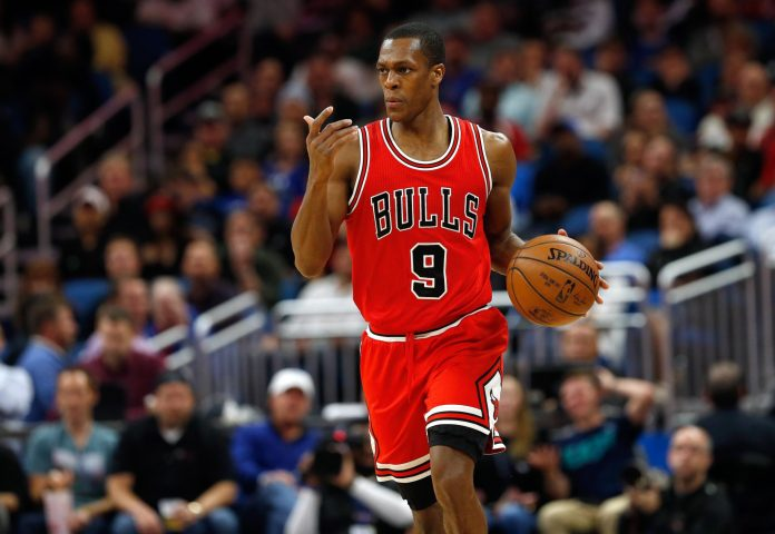 Jan 24, 2017; Orlando, FL, USA; Chicago Bulls guard Rajon Rondo (9) dibbles the ball against the Orlando Magic during the second half at Amway Center. Chicago Bulls defeated the Orlando Magic 100-92. Mandatory Credit: Kim Klement-USA TODAY Sports