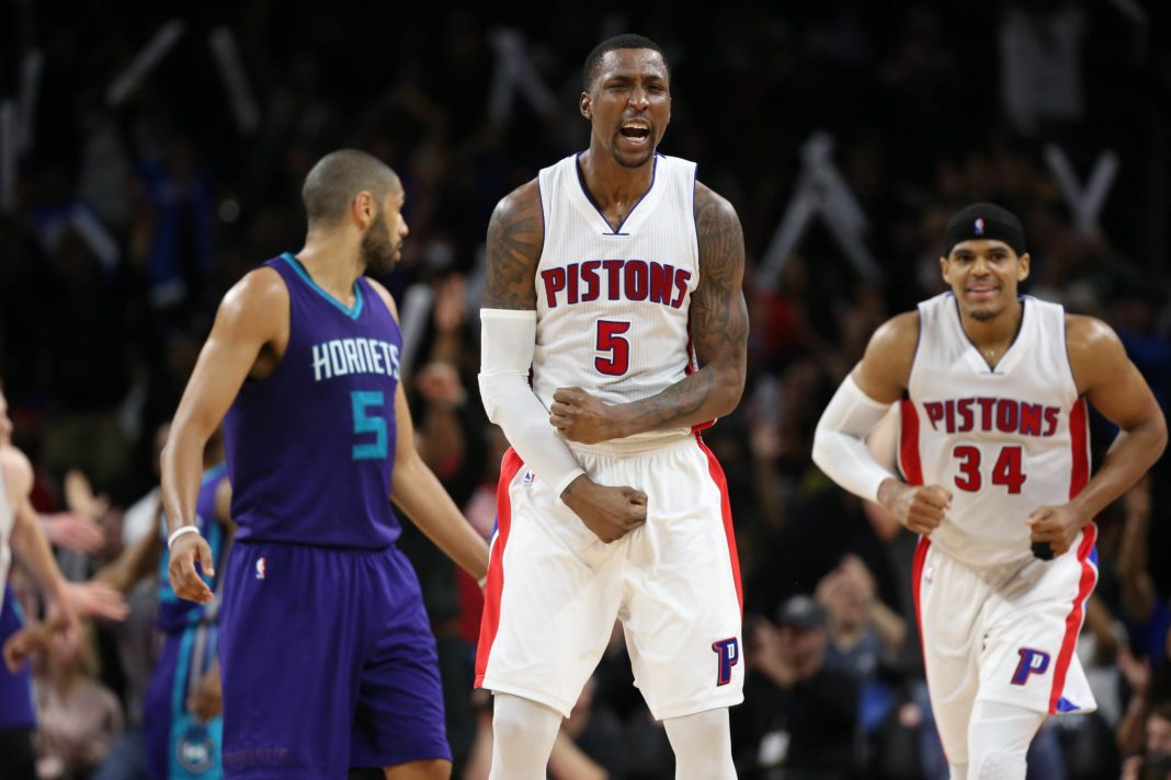Feb 23, 2017; Auburn Hills, MI, USA; Detroit Pistons guard Kentavious Caldwell-Pope (5) celebrates a win in overtime over the Charlotte Hornets at The Palace of Auburn Hills. Detroit defeated Charlotte 114-108. Mandatory Credit: Leon Halip-USA TODAY Sports