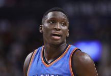 Mar 16, 2017; Toronto, Ontario, CAN; Oklahoma City Thunder guard Victor Oladipo (5) during their game against the Toronto Raptors at Air Canada Centre. The Thunder beat the Raptors 123-102. Mandatory Credit: Tom Szczerbowski-USA TODAY Sports
